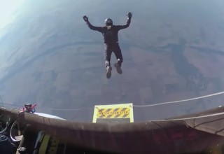 Marc Houser jumps into the jet stream during his world record jump. | cool video of a skydiver setting a record