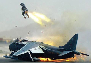 a pilot ejecting from a crashed jet