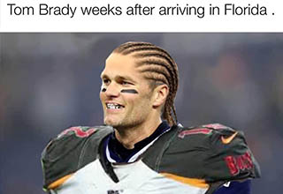 soccer player - Tom Brady weeks after arriving in Florida .