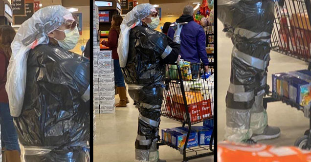relatable pics to keep you occupied | duct tape garbage bag hazmat suit