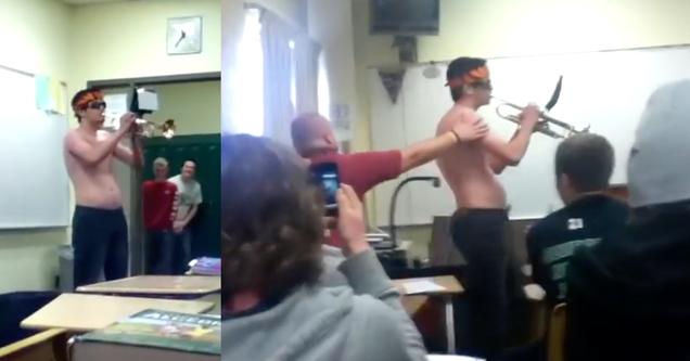high school student trumpet prank during math class