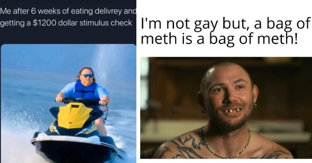 the best and funniest tiger king memes around | tiger-king-memes-jet ski - Me after 6 weeks of eating delivrey and getting a $1200 dollar stimulus check | tiger-king-memes-catalina marketing - I'm not gay but, a bag of meth is a bag of meth!