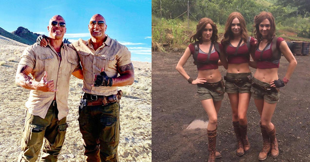 the rock and his stunt double and a group of 3 women dressed the same