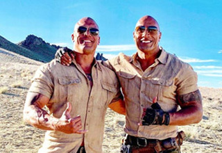 the rock and his look alike stunt dobule