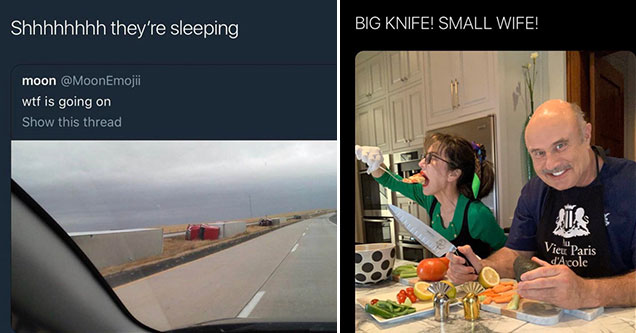 white twitter memes -  shh they're sleeping - big knife small wife