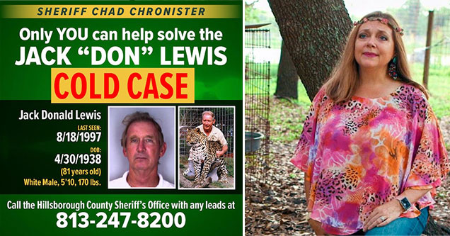 the ongoing investigation into Carol Baskin's missing husband | poster showing jack don lewis cold case missing