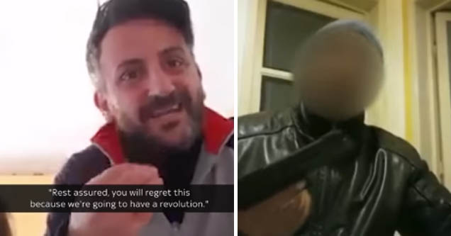 Frustrated Italian man says people may revolt, another man brandishes his gun | italians threatening a revolution