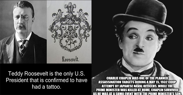 teddy roosevelt tattoo - source is mentioned on weirdfacts.org e Roosevelt. Teddy Roosevelt is the only U.S. President that is confirmed to have had a tattoo. blowingfact | charlie chaplin - Charlie Chaplin Was One Of The Planned Assassination Targets Dur
