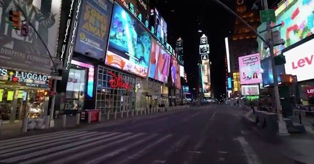 The empty streets of New York City as seen in a tiktok video.