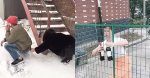 April Fools Pranks | snow pants gif | asian woman wine bottle fence