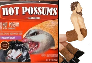 hot possums snack meme and handutaur | hot pocket meme - Hot Possums Sandwiches - Hot Possum With Garbage seasoned crust | Handitaur finger toy puppet - Why. Just Why