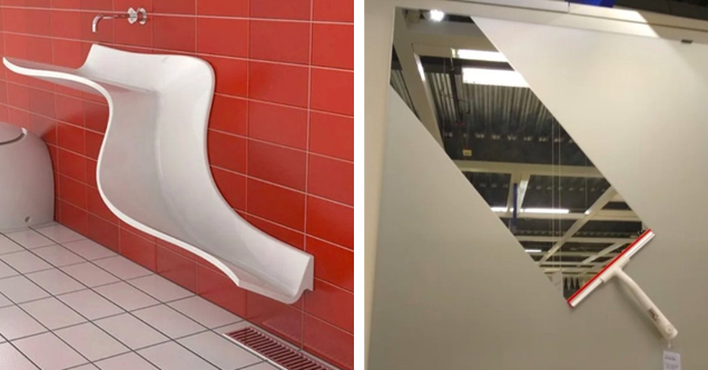 list of cool designs | a cool sink and a squeegee ad at Ikea