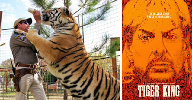 Joe Exotic aka 'Tiger King' poses with tiger | poster of the tiger king documentary with a pic of joe exotic on it