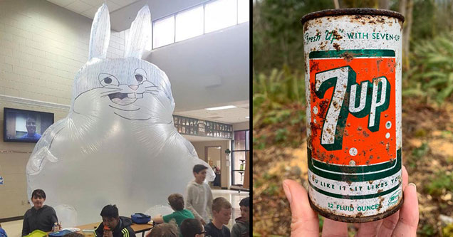 big chungus inflatable doll in school cafeteria and a vintage 7 Up can