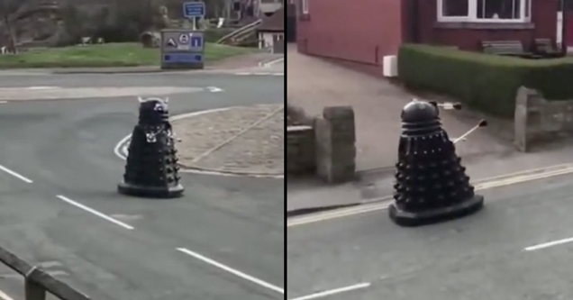 dalek in england enforcing quarantine | pic of a dalek in the middle of a street in the uk