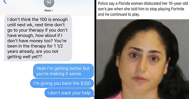 insane parents | insane parents texts - M Mom > I don't think the 100 is enough until next wk, next time don't go to your therapy if you don't have enough, how about if I don't have money too? You're been in the therapy for 1 12 years already, are you not