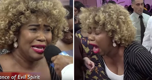 woman gives a demon a blowjob in church | pic of a woman looking distraught | pic of a woman with her mouth open in a public area