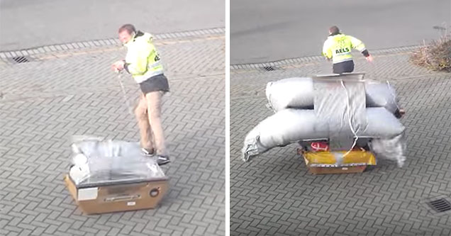 An employee of AELS runs away as an airplane evacuation slide goes off. | cool video showing a evacuation slide opening up from a tiny box