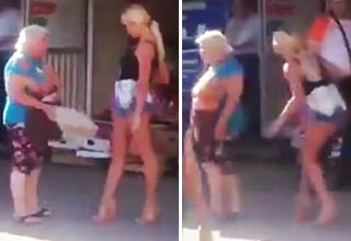 blonde babe disrespects old Russian lady, gets rekt