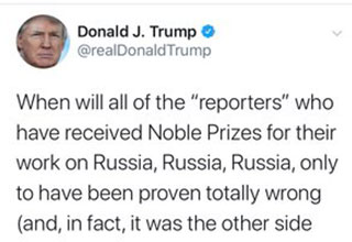 "It's Nobel, and he thinking about the Pulitzer Prize! It's not everyday the president deletes a tweet, so here they are, for records sake, Donald Trump believed <a href=""https://www.ebaumsworld.com/pictures/journalist-gets-roasted-for-claiming-south-park-causes-cultural-damage/86202799//""><strong>journalist</strong></a> get Nobel Prizes for their work!"