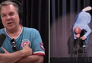 Jeff Garlin on the joe Rogan podcast | screenshot from joe rogans stool humping routine