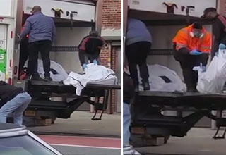 A funeral home in Brooklyn ran out of space for the dead and so they began keeping corpses in trucks on the street.