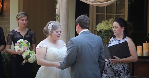 minister vomits during the reading of the vows | screenshot of a bride and groom reading their vows when suddenly the minister throws up