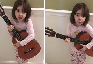 little girl plays a song on the guitar | what's inside your butthole remix song
