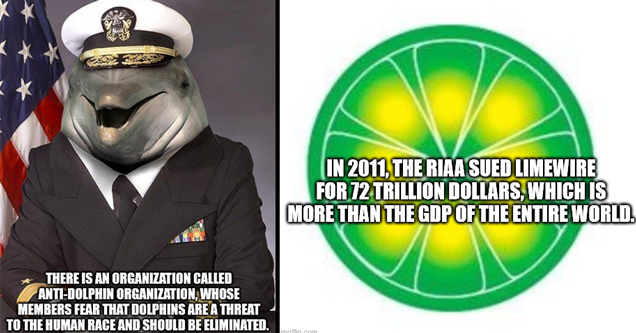 There Is An Organization Called AntiDolphin Organization, Whose Members Fear That Dolphins Are A Threat To The Human Race And Should Be Eliminated. - in 2011 the riaa sued limewire for 72 trillion dollars, which is more than the gdp of the entire world