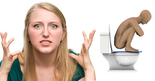 girlfriend angry about boyfriend who stands on the toilet to poop like golum | pic of a woman frustrated and animated figure over a toilet