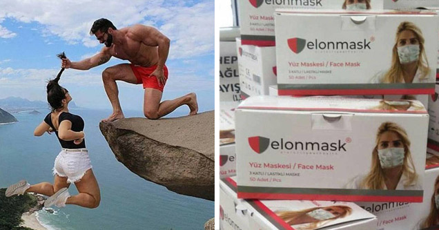 a guy holding his girlfriend by her hair over a cliff | box elon mask with a blonde woman