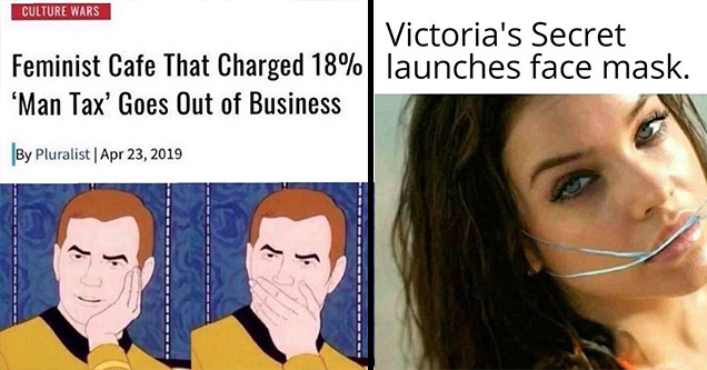 captain kirk cartoon - Culture Wars Feminist Cafe That Charged 18% Man Tax' Goes Out of Business By Pluralist     lip - Victoria's Secret launches face mask.