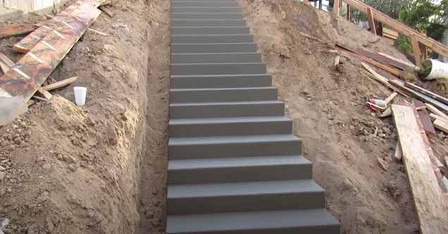 A fresh staircase built by West Coast Custom Concrete | cool video showing how to create an staircase in a more traditional way