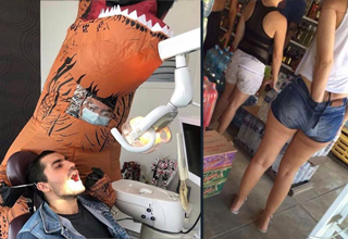 a dentist in a t rex outfit and a girl with her hands in her pants