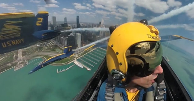 a blue angel pilot flying | video showing the blue angels flying over chicago