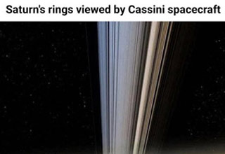 saturns ring as seen from the casimi space craft