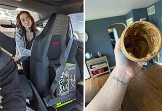 pics that show the differences between men and women | car seat cover - Aevs 10 Subd | My wife putting this peanut butter in the trash because it's empty..
