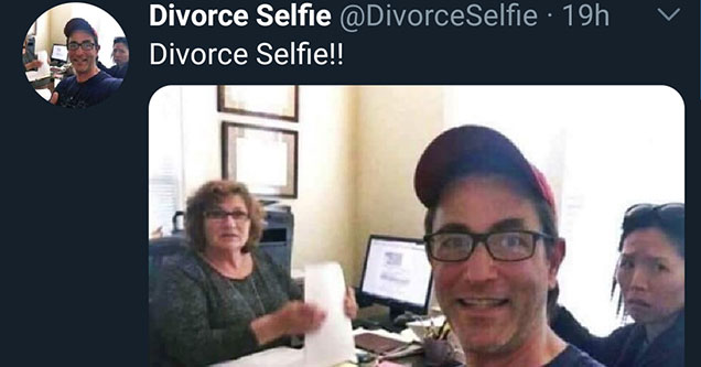 smiling dude takes a selfie at his divorce