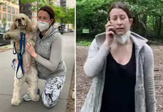 amy cooper dog leash viral video | screenshot of a woman with her dog and on the phone after refusing to put her dog on a leash