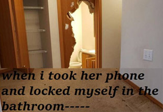 a broken bathroom door floor - when i took her phone and locked myself in the bathroom