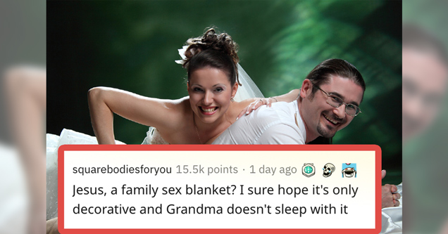 Jesus a family sex blanket? I sure hope it's only decorative and grandma doesn't sleep with it