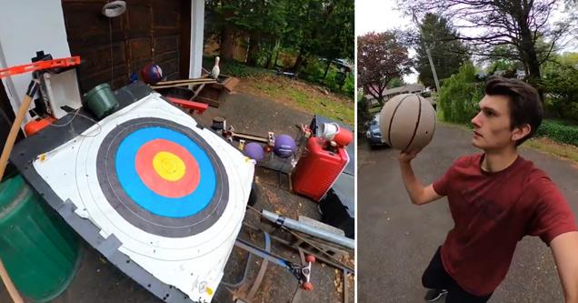 swish machine basketball trick shot