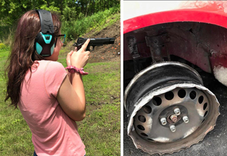 girl holding gun wrong - broken tire car rim