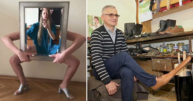 wtf funny pics | creepy girl holding mirror - guy wearing really long shoes