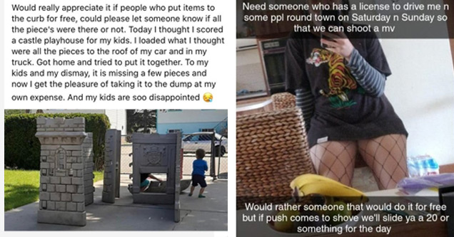 a post from an entitled person complaining about free playground house | architecture - Would really appreciate it if people who put items to the curb for free, could please let someone know if all the piece's were there or not. Today I thought I scored a