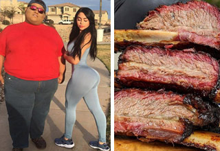 bunch of funny random pics and memes | a big guy and a hot girl and a stack of ribs