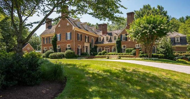 a large brick mansion | This large mansion seems like your ordinary big home, but it holds a unique little secret in its basement.
