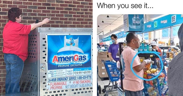 woman smoking next to gas and man eating food with gloves on | brick wall - AmeriGas Propane Exchange Moto Diorange Your Tank $19.99 $49.99 24Hour Emergency Service 18884289779 Flammable No Smoking Propane Net Weight 15LBS. 68KG
