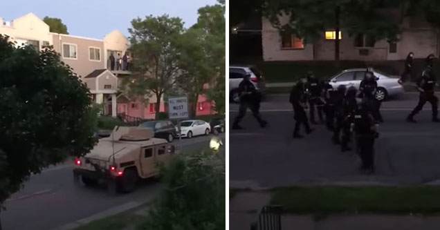 people are told to go inside before being shot with rubber bullets in Minneapolis | national guard in Minneapolis shooting rounds