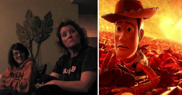 toy story 3 mom prank | screenshot of a mother watching toy story 3 with her children when she gets pranked